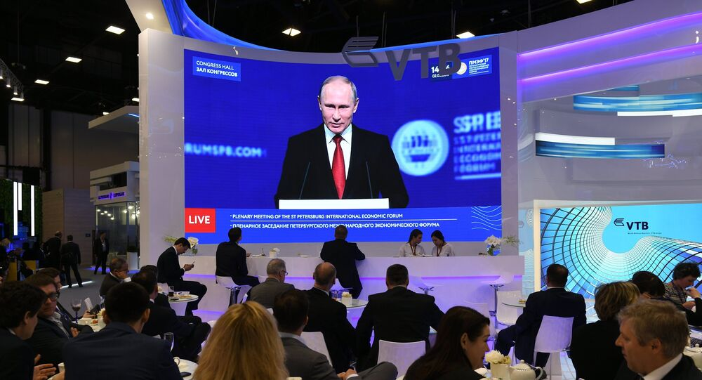 The broadcast of President Vladimir Putin's speech at the plenary meeting of the 2017 St. Petersburg International Economic Forum.