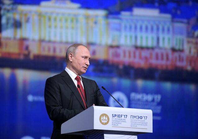 President Vladimir Putin attends 2017 St. Petersburg International Economic Forum. Day Two