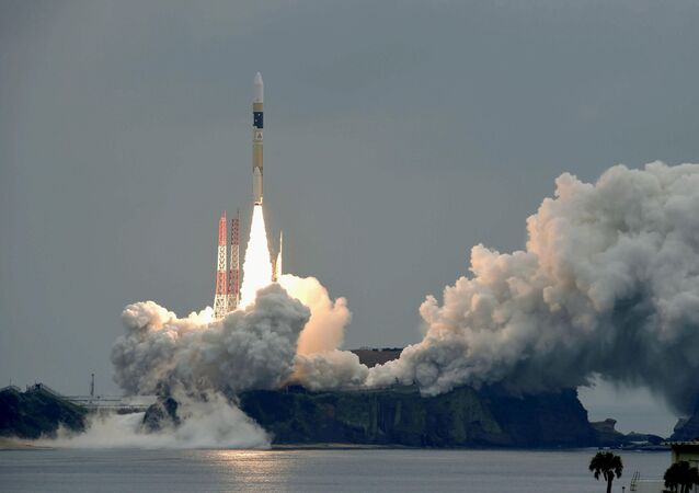 A H-IIA rocket, carrying a Michibiki 2 satellite, one of four satellites that will augment regional navigational systems, lifts off from the launching pad at Tanegashima Space Center on the southwestern island of Tanegashima, Japan, in this photo taken by Kyodo June 1, 2017.