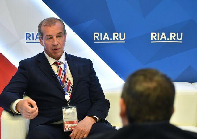 Governor of the Irkutsk Region Sergei Levchenko during an interview with RIA Novosti at the 2017 St. Petersburg International Economic Forum