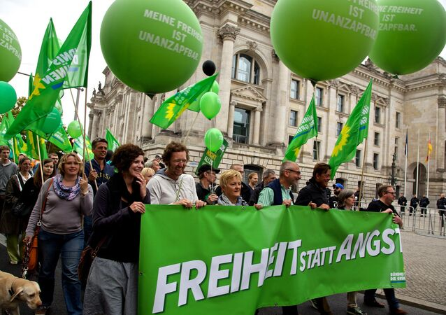 A demonstration by the German Alliance 90/The Greens. File photo