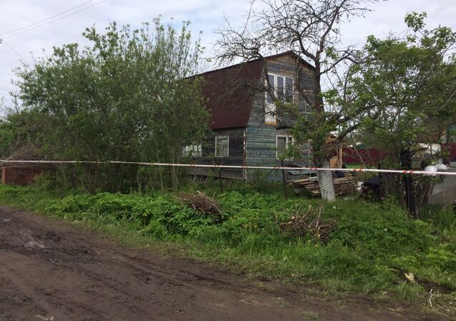The house in Redkino, Tver Region, where the shooting happened