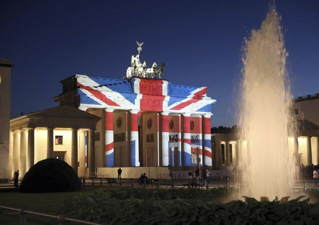 A view of the Brandenburg Gate in Berlin after it was illuminated in the colors of the British union flag Sunday June 4, 2017