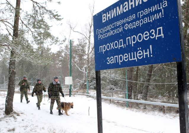 Work of border guards on Russian-Lithuanian border in Ribachy village, Kaliningrad region