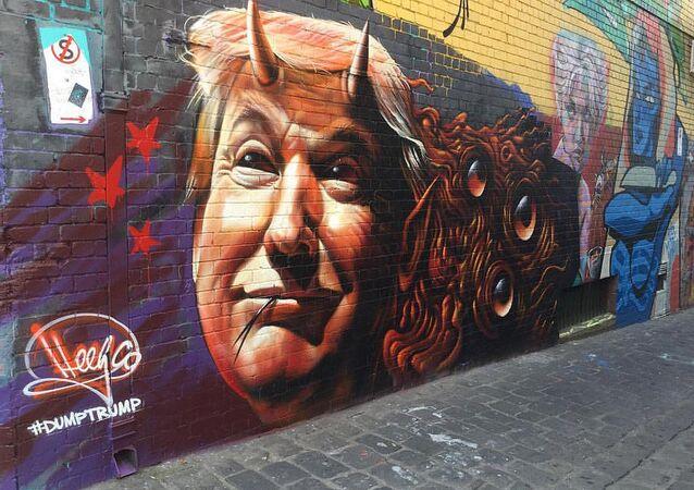 Donald Trump in a street art representation as a devil