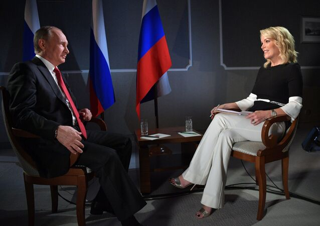 June 3, 2017. Russian President Vladimir Putin and CNN anchor Megyn Kelly during an interview on the sidelines of the 2017 St. Petersburg International Economic Forum