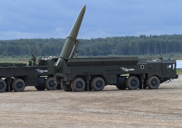 Iskander-M missile system during a military machine demonstration at the Alabino training ground