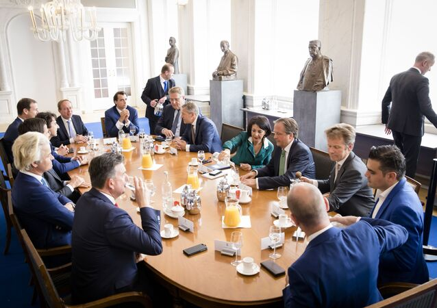 Chairman of the House of Representatives Khadija Arib receives the head of the parties at the Binnenhof, The Hague on May 16, 2017.
