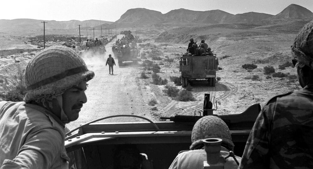 A platoon of Israeli armoured cars is seen moving through the southern Sinai, Egypt, during Israel's invasion of the Sinai in the six day war of Israel, June 7, 1967