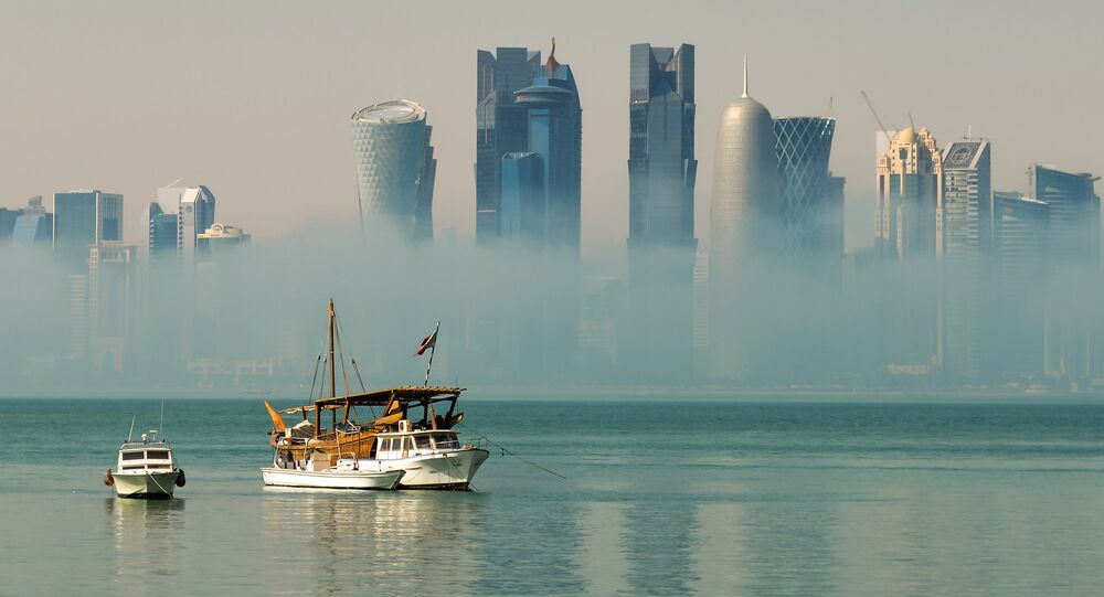 Mist burning off Doha Bay