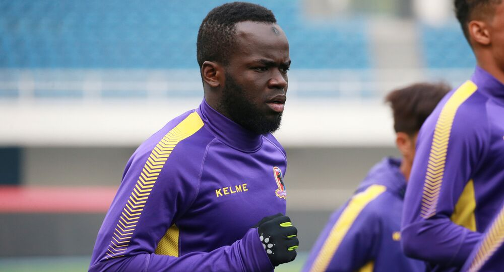 Former Ivory Coast international soccer player Cheick Tiote takes part in a training session of soccer club Beijing Enterprises in Beijing, China, April 7, 2017.