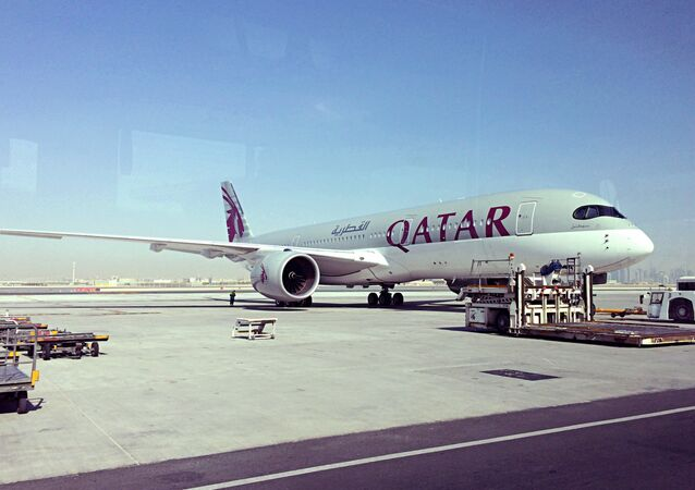 A parked Qatari plane in Hamad International Airport (HIA) in Doha, Qatar, Tuesday, June 6, 2017