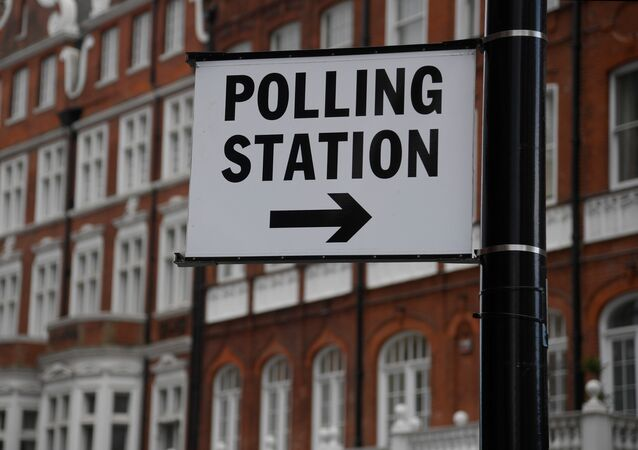 A polling station sign is seen ahead of the forthcoming general election, in London, Britain June 6, 2017.