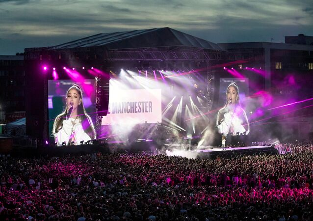 Ariana Grande performs during the One Love Manchester benefit concert for the victims of the Manchester Arena terror attack at Emirates Old Trafford, Greater Manchester, Britain on June 4, 2017