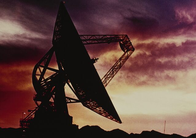 Radio telescope located at the Goldstone Tracking Station in the Mojave Desert, California
