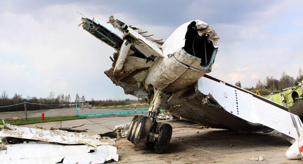 Polish President Lech Kaczynski's Tu-154 aircraft debris at Smolensk airfield's secured area