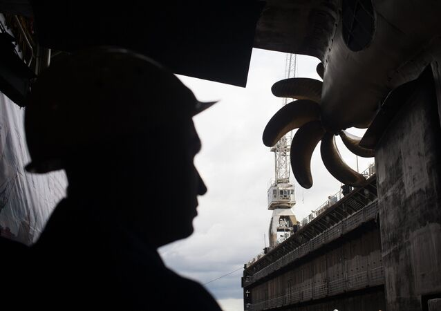 Worker at the ceremonial launch of the Diesel and electric submarine. (File)