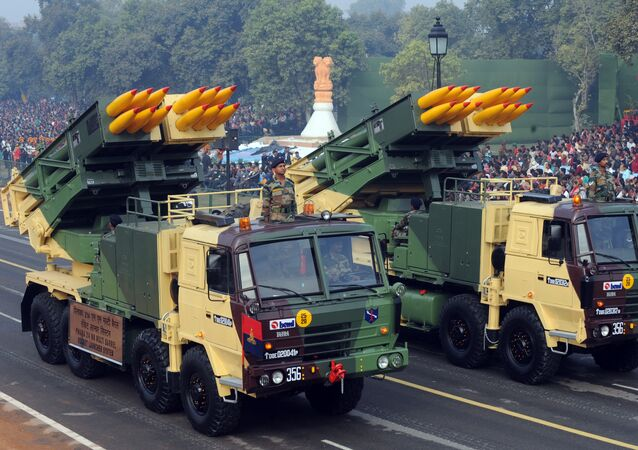 Pinaka 214MM multi barrel rocket launcher roll during the final full dress rehearsal for the Indian Republic Day parade in New Delhi on January 23, 2011