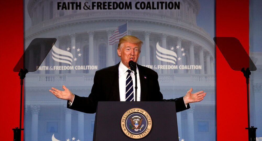 U.S. President Donald Trump addresses the Faith and Freedom Coalition's Road to Majority conference in Washington, U.S., June 8, 2017