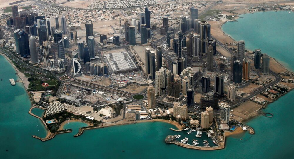 An aerial view of Doha's diplomatic area.