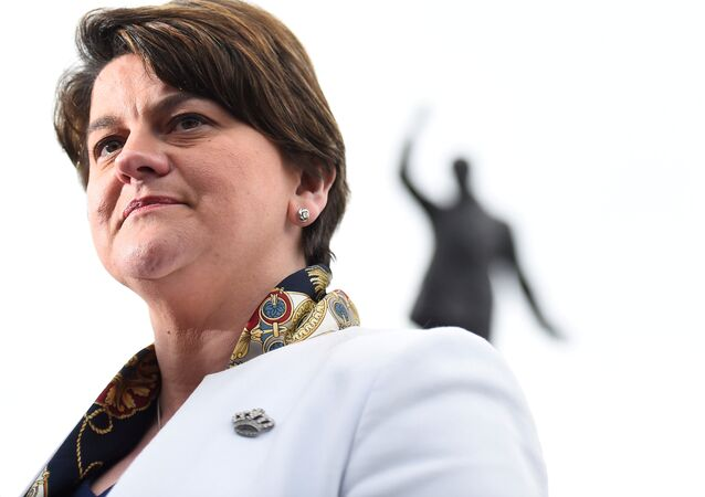 Leader of the Democratic Unionist Party (DUP) Arlene Foster speaks to media outside Stormont Parliament buildings in Belfast, Northern Ireland March 6, 2017.