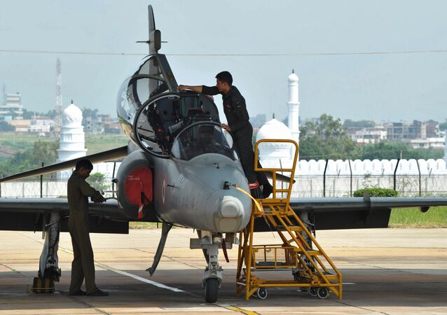 Indian Air Force ground crew work on a BAE Systems Hawk Mk 132 advanced jet trainer aircraft at the Bidar Air Force Station in Karnataka state. (File)
