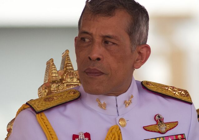 Thailand's King Vajiralongkorn Bodindradebayavarangkun addresses the audience at the royal plowing ceremony in Bangkok, Thailand, Friday, May 12, 2017.