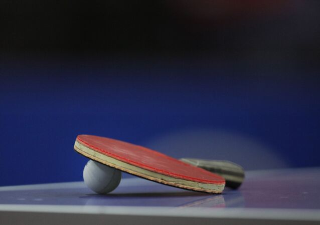 The paddle of world champion Ding Ning of China remains on the table