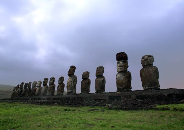 View of Moais -- stone statues of the Rapa Nui culture -- on the Ahu Tongariki site on Easter Island, 3700 km off the Chilean coast in the Pacific Ocean