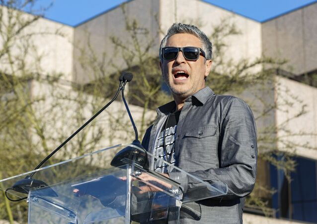 Reza Aslan performs at the UTA United Voices Rally at UTA headquarters on Friday, Feb. 24, 2017, in Beverly Hills, Calif.