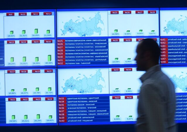 The information screens at the Central Electoral Commission during the Single Election Day. File photo