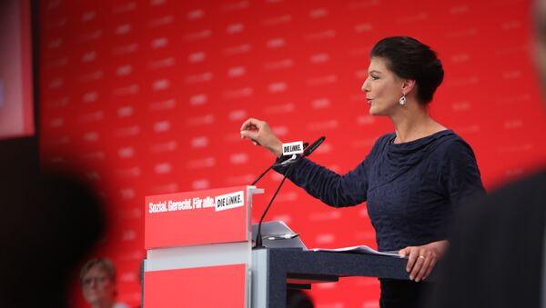 Die Linke Bundestag co-chair and leading party candidate Sahra Wagenknecht gives a speech at the Die Linke party conference in Hannover on June 11 2017 - Sputnik International
