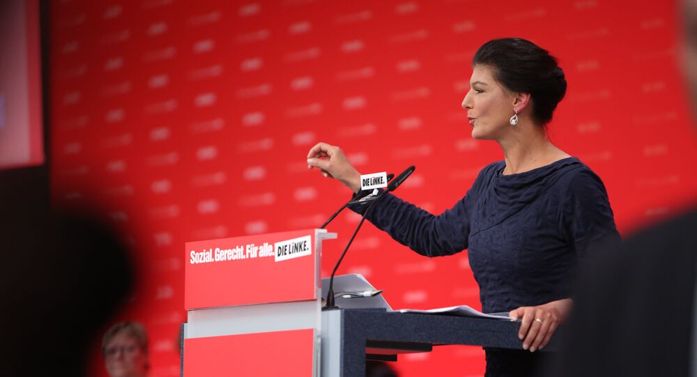 Die Linke Bundestag co-chair and leading party candidate Sahra Wagenknecht gives a speech at the Die Linke party conference in Hannover on June 11 2017