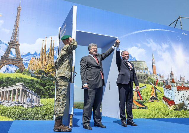 Ukrainian President Petro Poroshenko and Slovak President Andrej Kiska attend a ceremony dedicated to a visa-free regime with European Union (EU) which comes into force for Ukraine, in the town of Uzhgorod, Ukraine, June 11, 2017