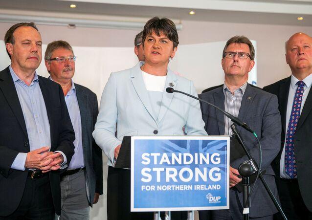 Leader of the Democratic Unionist Party (DUP) Arlene Foster addresses journalists in Belfast, Northern Ireland, June 9, 2017