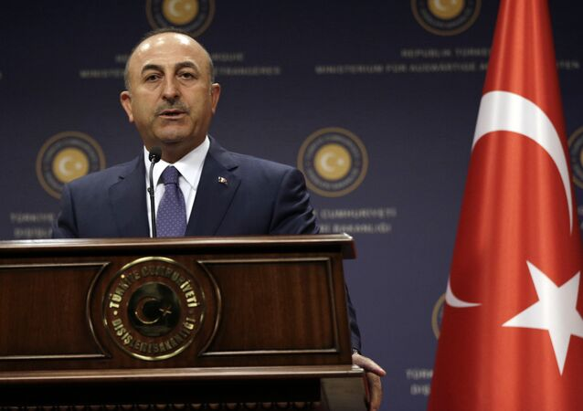 Turkey's Foreign Minister Mevlut Cavusoglu speaks during a joint news conference with German Foreign Minister Sigmar Gabriel in Ankara, Turkey, Monday, June 5, 2017
