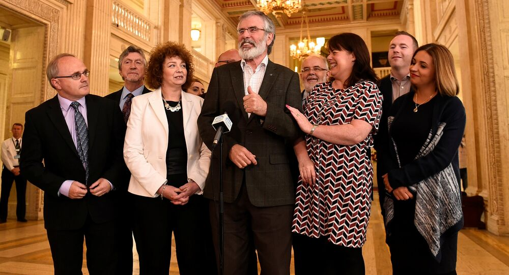 Sinn Fein President Gerry Adams speaks to media at Stormont Parliament buildings in Belfast, Northern Ireland June 12, 2017.