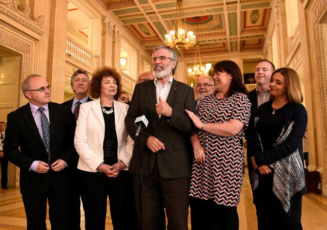 Sinn Fein President Gerry Adams speaks to media at Stormont Parliament buildings in Belfast, Northern Ireland June 12, 2017.