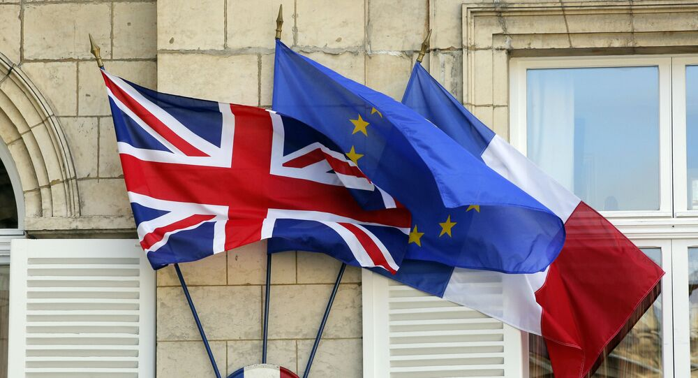 The British , European and French flags (File)