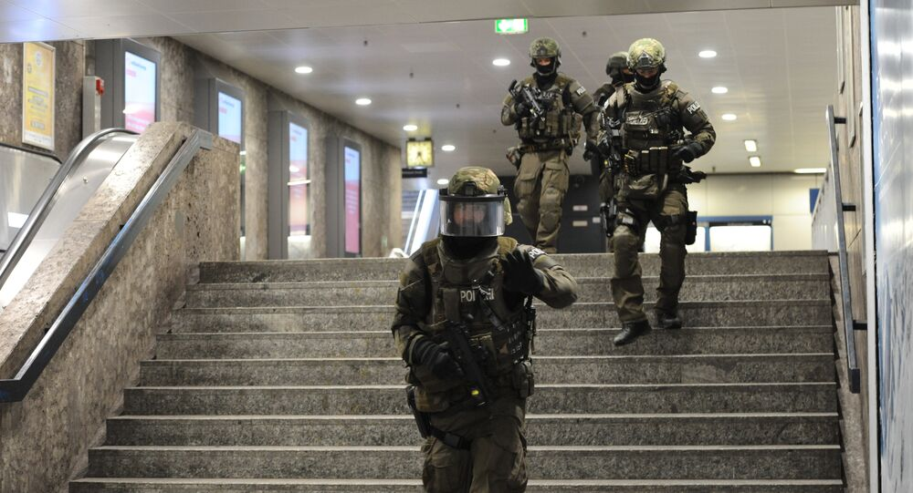Heavily armed police forces walk through the underground station in Munich, southern Germany (File)