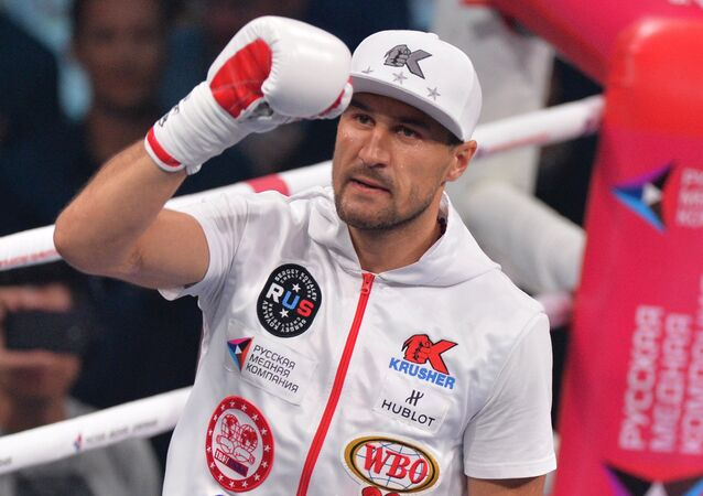 Russia's Sergey Kovalev prior to the fight with Isaac Chilemba of Malawi for the WBA (Super), WBO and IBF champion title.