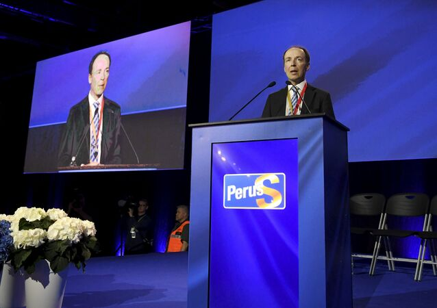 Newley-elected chairman of the Finns Party and Member of the European Parliament Jussi Halla-aho delivers his speech at the Finns Party congress in Jyvaskyla, Finland June 11, 2017
