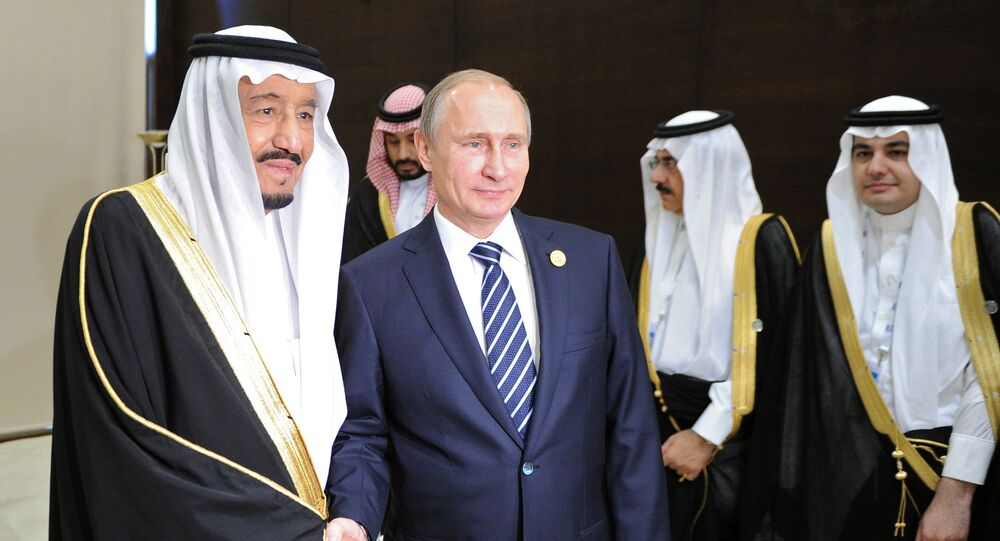 Vladimir Putin, President of the Russian Federation, with Salman bin Abdulaziz Al Saud, King of Saudi Arabia and Chairman of the Saudi Council of Ministers, during a meeting on the sidelines of the Group of 20 summit in Antalya, Turkey (File)