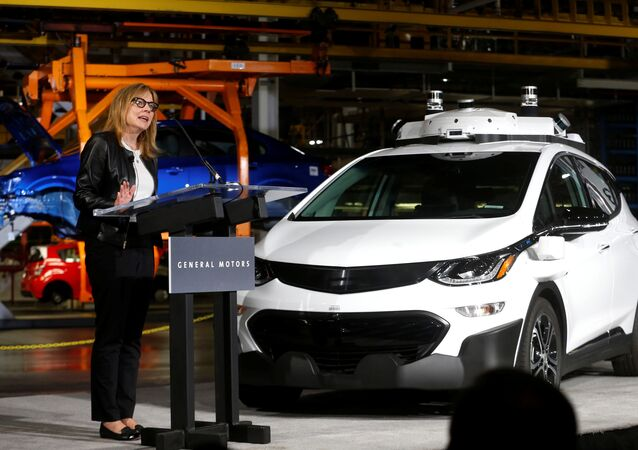 General Motors Chairman & CEO Mary Barra updates auto workers and the media on autonomous vehicles development and the Chevrolet Bolt EV at GM's Orion Assembly plant in Orion, Michigan, U.S., June13, 2017