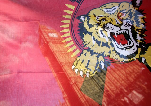 St. Stephen's Tower is seen through a Tamil Tiger flag during a protest on the streets outside the Houses of Parliament in London, Monday, May 18, 2009.