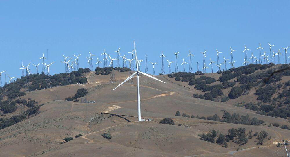 Wind turbine (front C) is pictured at a wind farm in Tehachapi, California, U.S. (File)