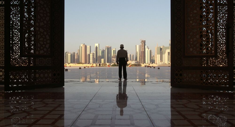 A man stands at Imam Muhammad ibn Abd al-Wahhab Mosque in Doha, Qatar, June 9, 2017