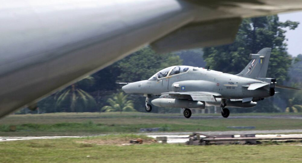 Malaysian airforce's Hawk jet touches down at Kuantan airforce base in Kuantan, east coast of Malaysia, Thursday, Sept. 15, 2005