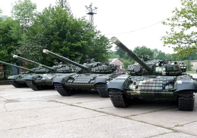 T 72 and T-64 tanks are on display in the Lviv armor repair plant timed to coincide with Europe Day