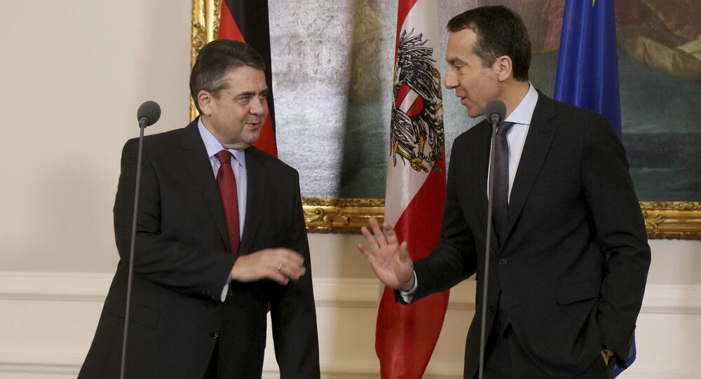 German Minister of Foreign Affairs Sigmar Gabriel and Austrian Chancellor Christian Kern, from left, gesture during a news conference (File)